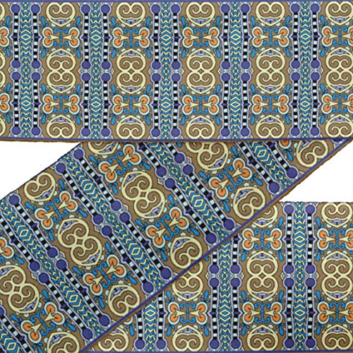 (IBA Indianbeautifulart Brown Stripe & Paisley Ethnic RibbonTrimTape Fabric Laces for Crafts Printed VelvetTrim9 Yards Sewing Accessories 3 Inches)