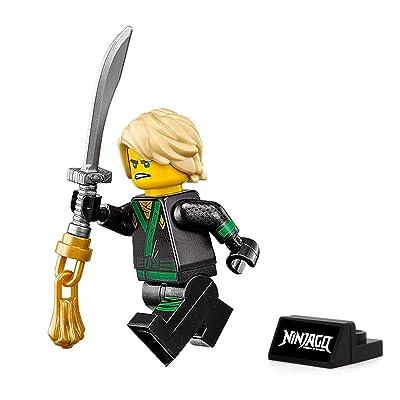 LEGO The Ninjago Movie Minifigure - Lloyd Green Ninja (with Hair, Sword, and Display Stand) 70617: Toys & Games