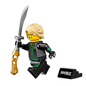LEGO The Ninjago Movie Minifigure - Lloyd Green Ninja (with Hair, Sword, and Display Stand) 70617