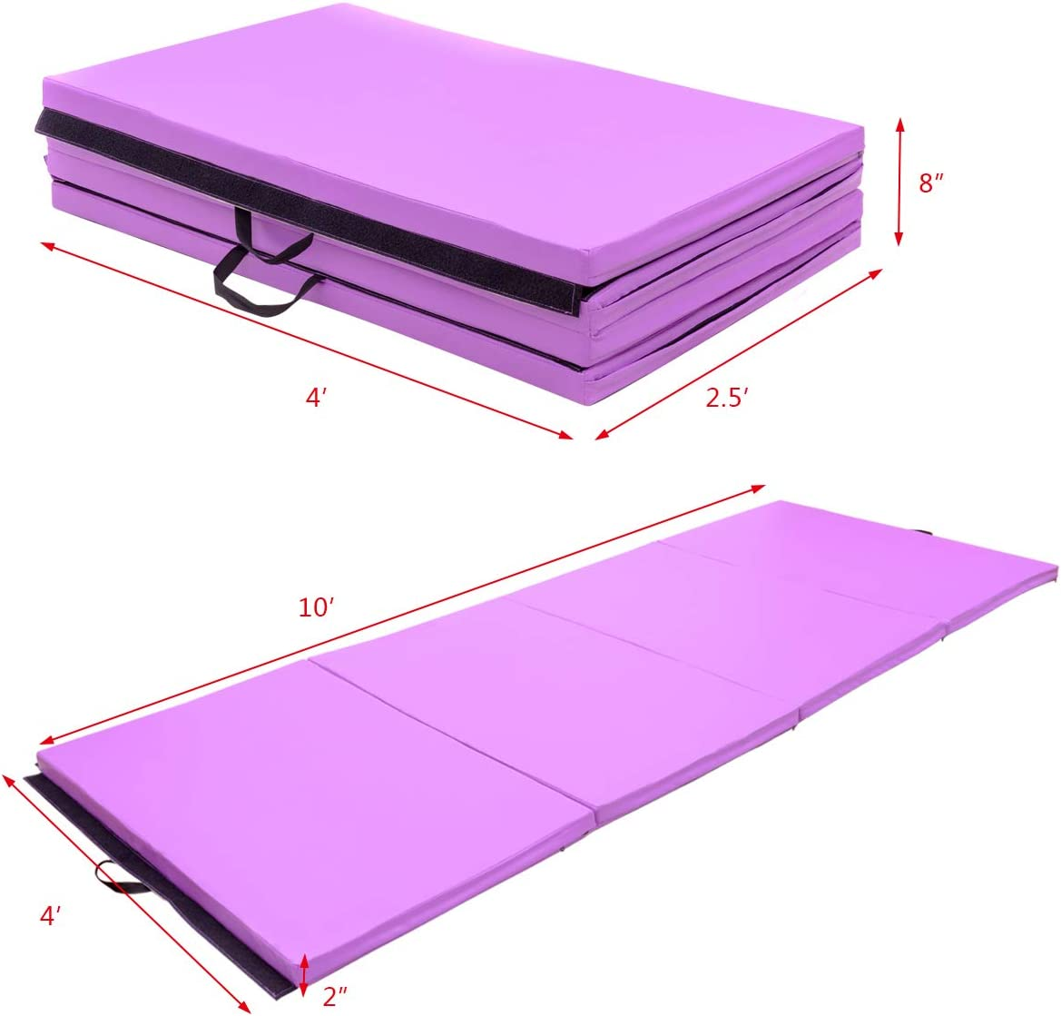 4x10x2 Folding Panel Gymnastics Tumbling Mat for Gym Home Fitness Exercise Gymax Gym Thick Panel