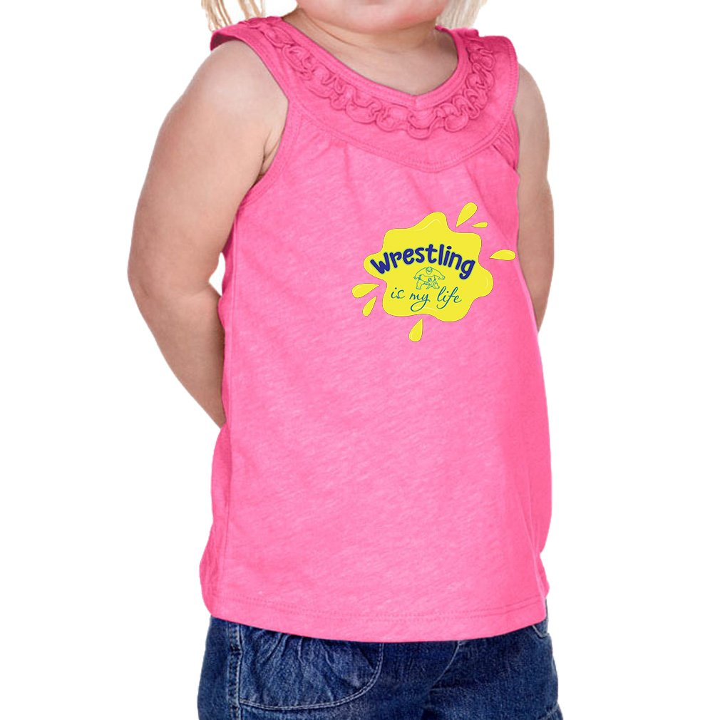 Wrestling is My Life Sport 60/40 Cotton/Polyester Tank Ruffle Neck Girl Infant Jersey Tee Yoke - Hot Pink, 6 Months