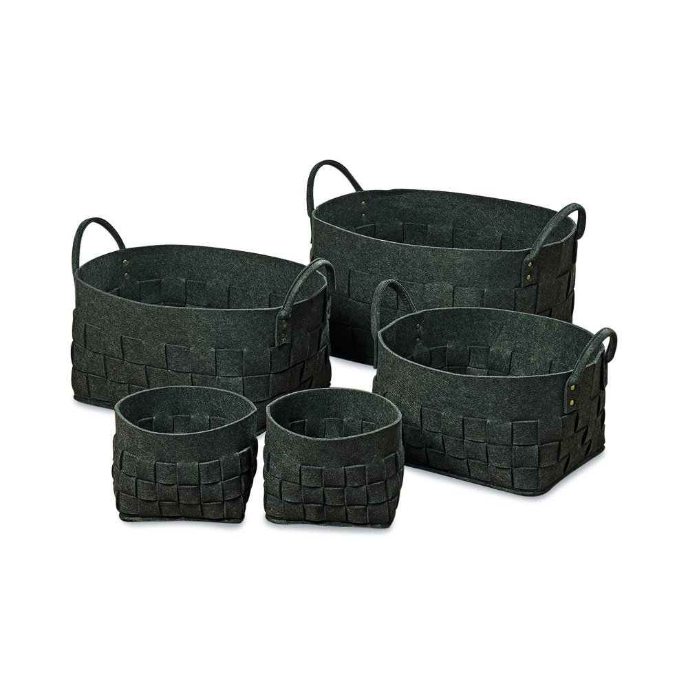 The Cozy Home Felt Woven Storage Baskets In Charcoal, Set of 5, Super Soft And Thick , Polyester, Brass Details, Various Sizes, By Whole House Worlds by Whole House Worlds