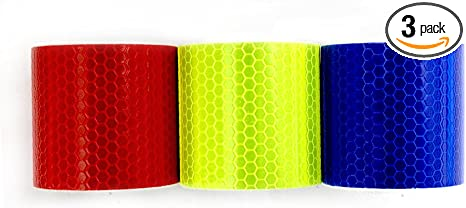 2x118 Honeycomb Self-Adhesive Safety refelctive Tape Warning Tape Reflector Tape Security Marking Tape Waterproof for car//trailers //truck//traffic//Construction site Muchkey 3Pcs 5cmx3m Gold,Red,Silver