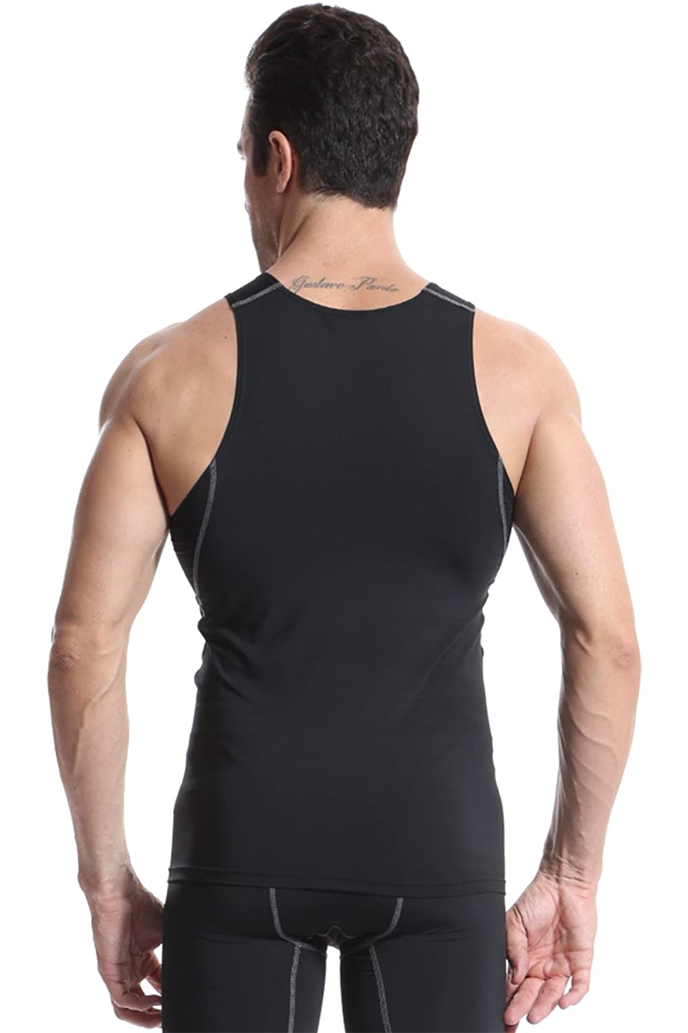 FASKUNOIE Mens 3 Pack Breathable Compression Athletic Tank Top Training Muscle Shirt