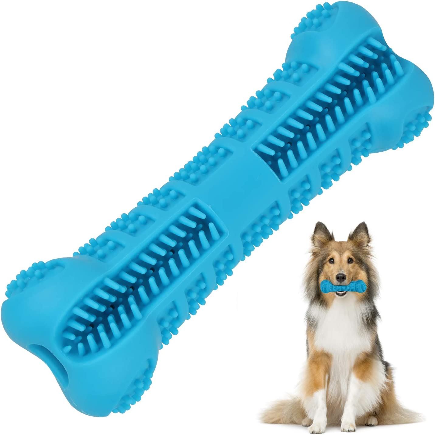 Ufanore Dog Chew Toys for Non-Aggressive Chewers with Non-Toxic & Food-Grade Silicone Material, More Attractive Bone-Shaped Dog Toothbrush Toys for Dental Care & Training for Most Dogs