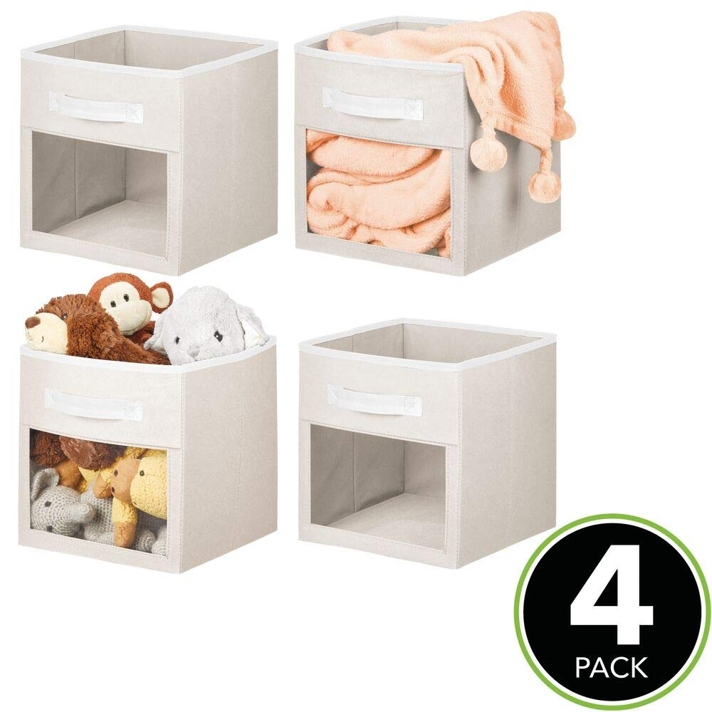 11 High mDesign Soft Fabric Closet Storage Organizer Cube Bin Box with Easy-View Front Window Playroom for Child//Kids Room Nursery Shelf Handle Blush Pink//White 4 Pack Furniture Unit