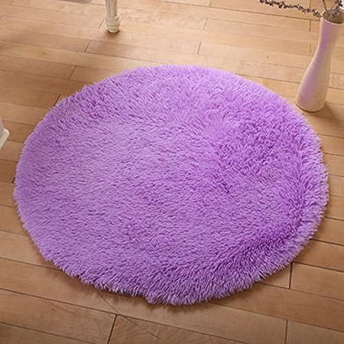 YOH Soft Round Fluffy Area Rugs Circle Rug for Bedroom Kids Room Living Room Playroom Boys Girls Baby Kids Children Play Carpet for Bedroom Home Nursery Decor Yoga Mats (4 x 4 Feet,Purple) (Childrens Rugs Girls)