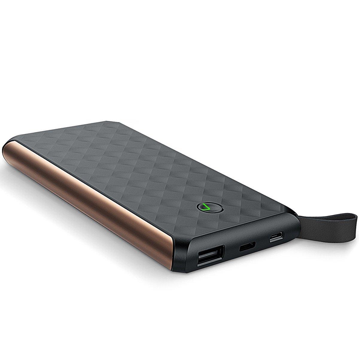 Luxtude 10000mAh Portable Charger, Dual Input Port (USB C Quick Recharging) Power Bank, 2 USB Ports 2.4A High Output External Batteries Compatible iPhone, iPad, Samsung Galaxy, LG- Black