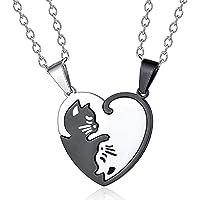 Collar Pareja Colgante Gato de Acero Inoxidable Collar con Colgante de Rompecabezas Collar de La Amistad Collar Puzzle…