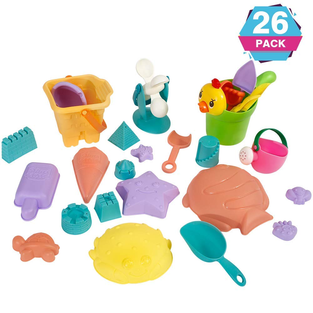 FunsLane Beach Sands Toys Set, Sand Toys Set for Kids, Sand Game Tools, Shovels Bucket in Reusable Gift for Kids, 26pcs