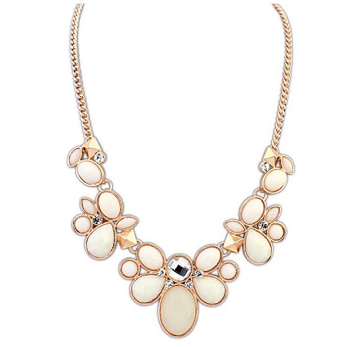 Willtoo(TM) Women Summer Crystal Rhinestone Necklace Flower Bib Chunky Statement Chain (Beige)