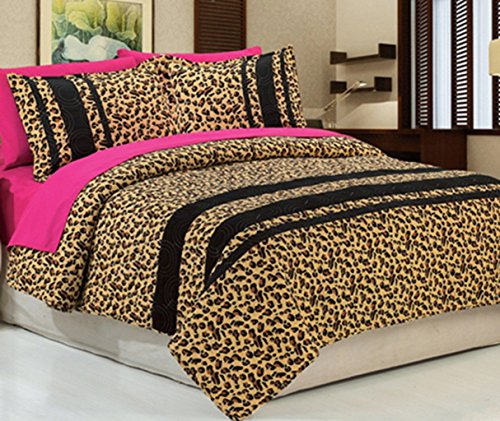 Dovedote Cotton Golden Black Leopard Animal Print Bedspread with Hot Pink Sheet Set, Queen, Reversible, 7 Piece