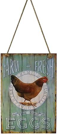 Farm Fresh Eggs Wooden Hanging Sign Plaque Primitive Rustic Farmhouse