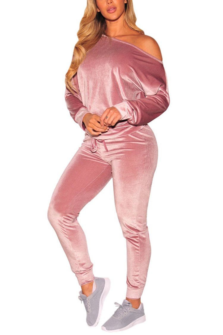 Selowin Womens Velour 2 Piece Outfits One Shoulder Drawstring Sweatpants Tracksuits Pink