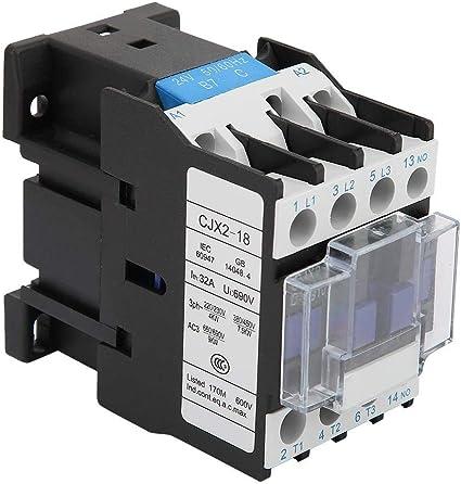 Bobina del contactor del montaje en carril de la CA 24/36/48/110 / 380V del contactor CJX2-1810 de 3 polos(24V AC)