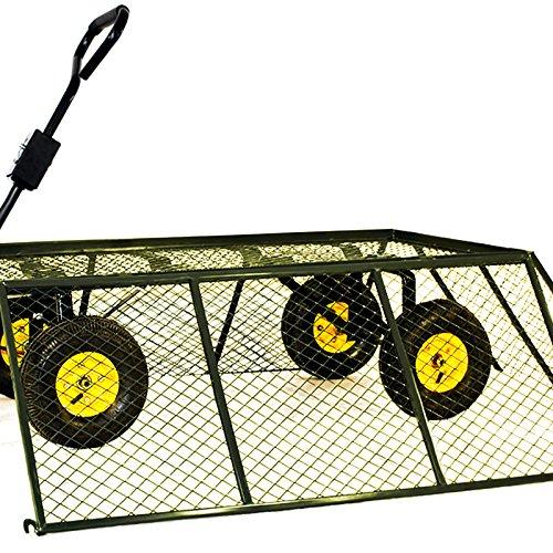 Chariot-Remorque-de-transport-jardin-Cts-amovibles-sur-4-roues-Charrette-avec-Panier-metallique