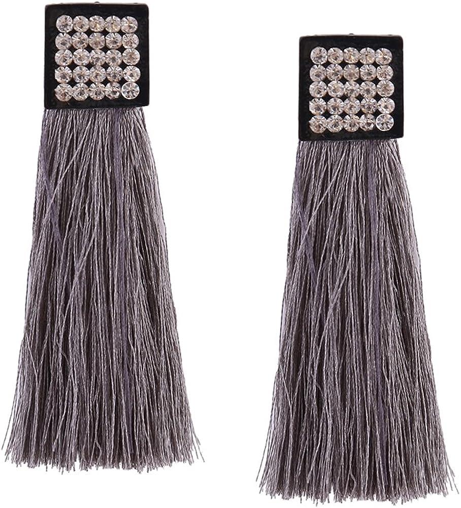Aibelly Bohemia Vintage Rhinestones borla declaración colgante pendientes de gota nueva moda hecho a mano hilo simple Stud Pendientes para mujer niñas