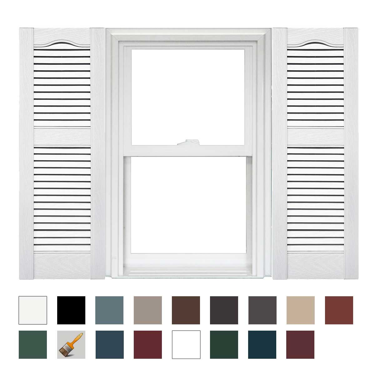 Mid America Cathedral Open Louver Vinyl Standard Shutter - 1 Pair 14.5 x 80 001 White