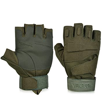 Vbiger Tactical Gloves Military Shooting Fingerless Half Finger Riding Hunting Cycling