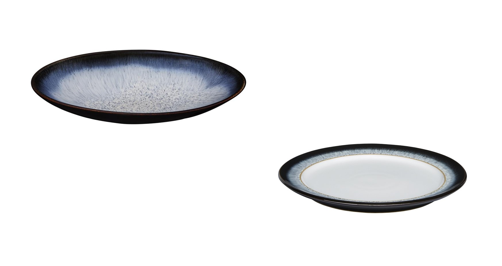 Denby Halo Large Oval Serving Dish and Wide Rimmed Dinner Plate, Set of 2