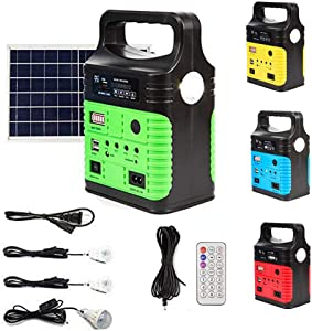 UPEOR Solar Generator Lighting System Portable Solar Power Generator Kit for Emergency Power Supply,Home & Outdoor Camping,Including MP3&FM Radio,Solar Panel,3 Sets LED Lights (Green)