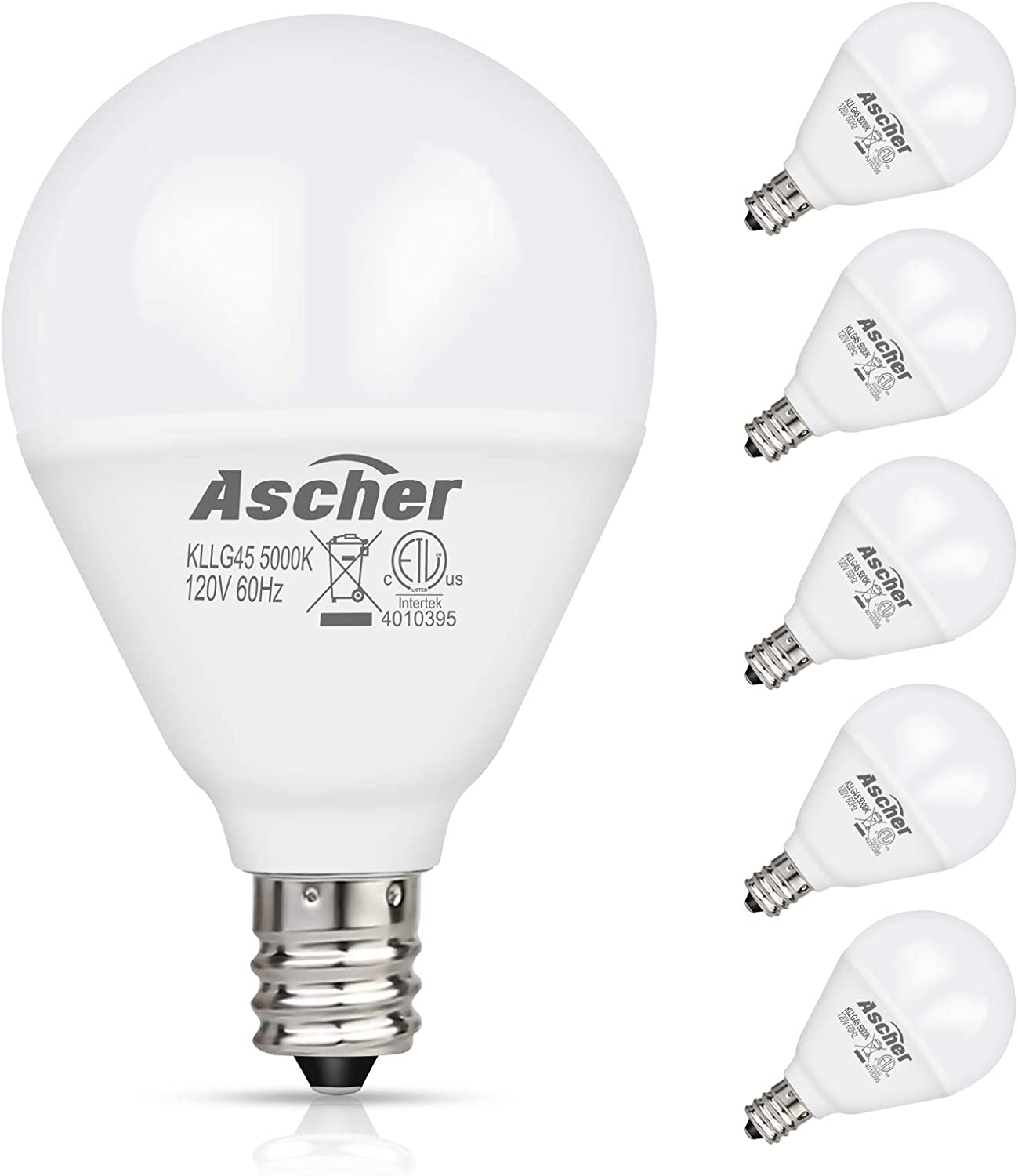 Ascher E12 LED Candelabra Light Bulbs 60 Watt Equivalent 550 Lumens Pack of 5 G14 Decorative Bulb for Ceiling Fan Daylight White 5000K Candelabra Base Round Bulb Non-dimmable