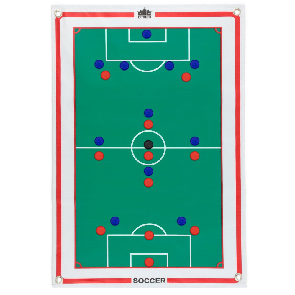 Magnetic Soccer Coaches Strategy & Tactic Board - 23.75'' x 16.75'' Premium, Double Sided Roll-Up Play Calling Clipboard, Full & Half Field View Sides, & 24 Magnets