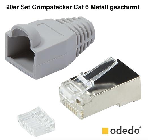 5 opinioni per odedo® 20er Pack Crimp maschio grigio Cat6metallo schermato con ausilio e