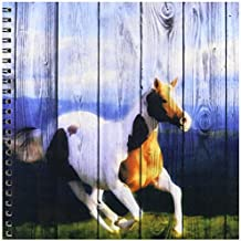 3dRose db_127611_1 Wild Horse Running with an Old Barn Wood Fence Drawing Book, 8 by 8-Inch