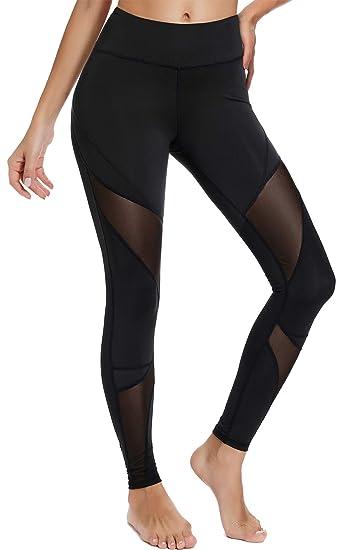 de801e80c7fe2 TELALEO High Waist Workout Pants for Women, Power Mesh Running Exercise  Yoga Leggings Pants Black