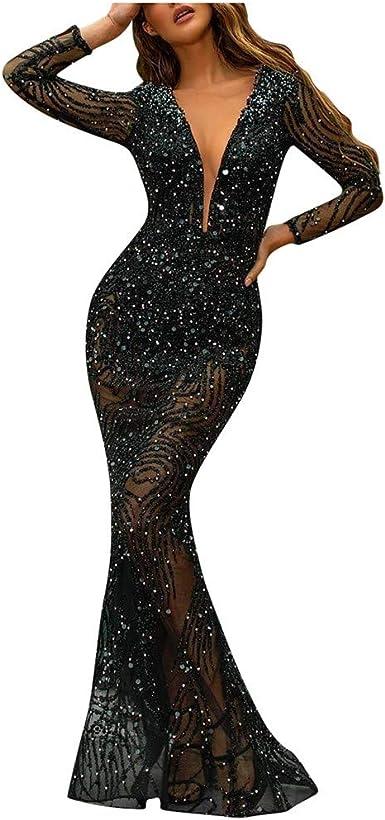 Abiti Da Sera Lunghi Amazon.Lulupi Donna Vestito Lungo Con Paillettes Vestito A Sirena Vestito