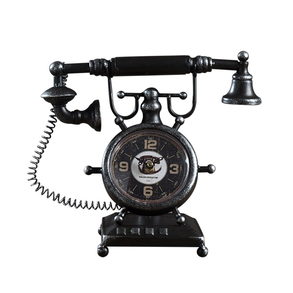 Fly American Vintage Iron Old Clock Clock Ornaments Home Decorations (Color : Black)