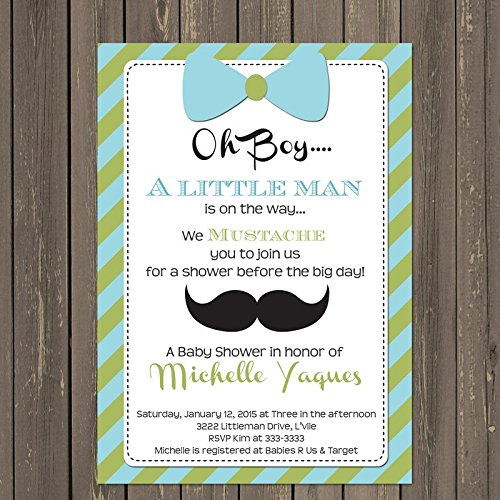 Amazon Com Little Man Baby Shower Invitation In Light Green And