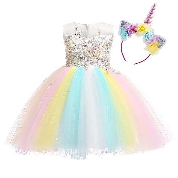 OBEEII Disfraz Unicornio Niña Vestido Unicornio Princesa ...