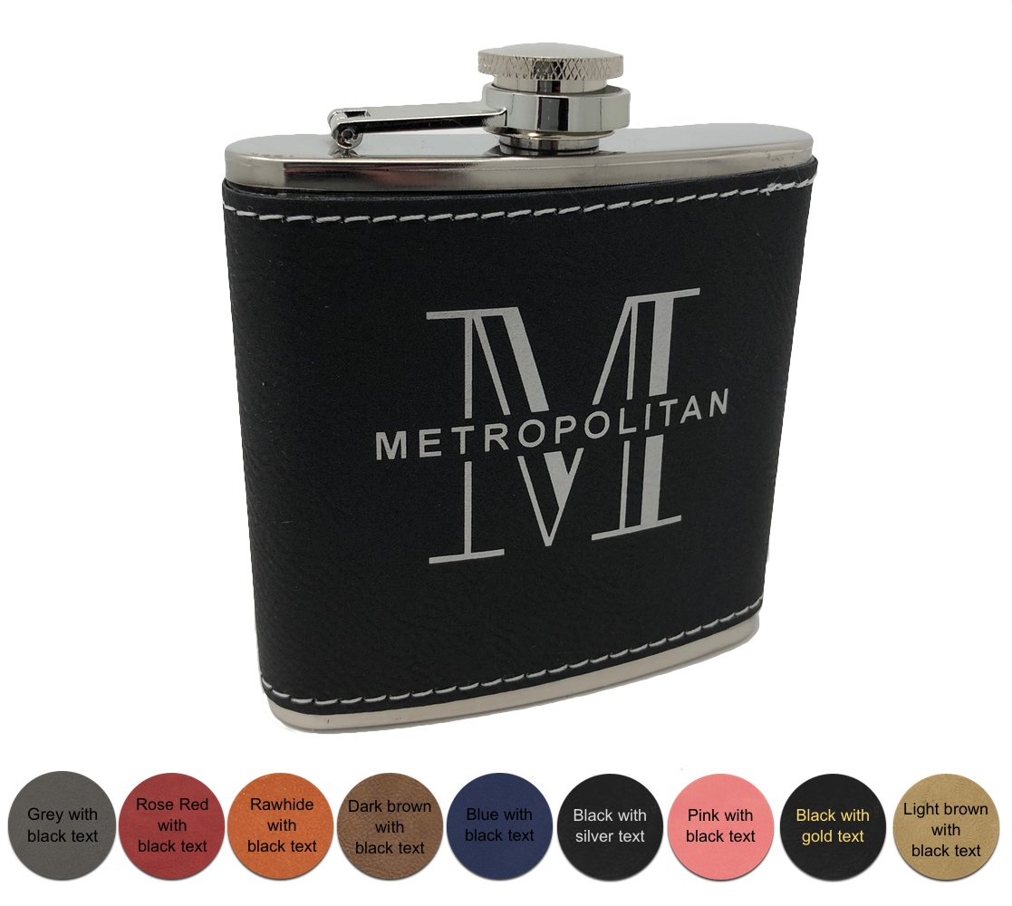 Personalized leatheretteフラスコ – black Free Engraving Engraving – – 9色から選択 6 ounces グレー Grey w/ black text B079TSKRQC, ノイント:24bf3b17 --- koreandrama.store