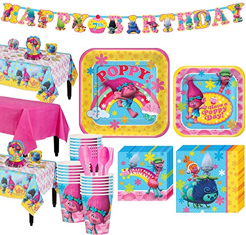 Party City Trolls Tableware Party Kit and Supplies for 24 Guests, Includes Table Cover, Centerpiece, Banner Kit