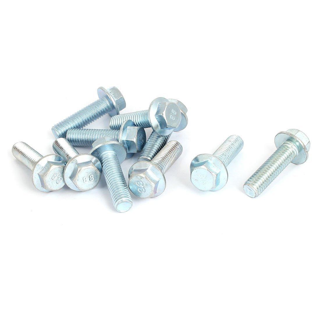 Sourcingmap/® M10 x 35 mm grado 8,8 m/étrico Hex brida tornillos pernos 10 piezas