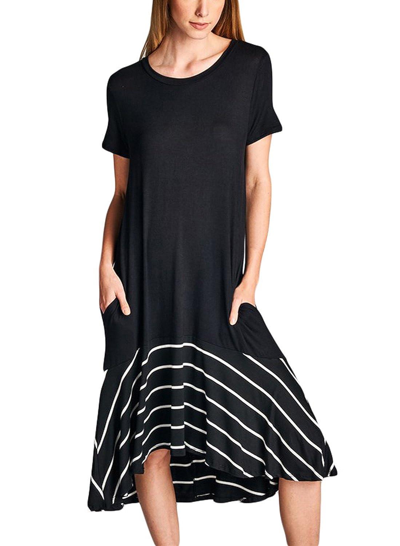 Itsmode Women's Short Sleeve Floral Print Casual Midi Dress T Shirt Dress S-XL LS61992