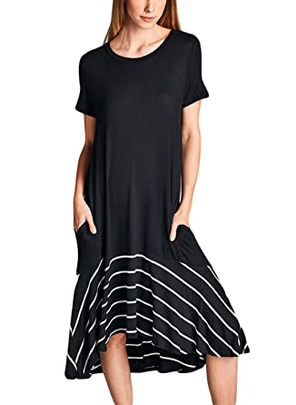 70e2f96d6c77 Image Unavailable. Image not available for. Color: HOTAPEI Womens Summer  Dresses Round Neck Short Sleeve Loose Pleated Sundress Casual Plain T Shirt  Dress