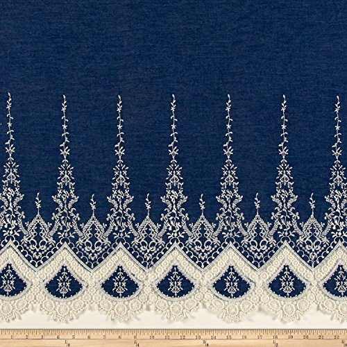 TELIO Denim Chambray Crochet Embroidery Single Border Fabric by The Yard, Off Off -