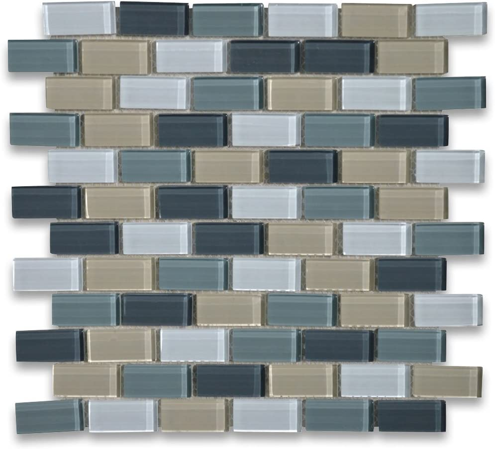 Amazon Com Stone Center Online Gray Blue Grey Beige And Bluish White Glass 1x2 Brick Mosaic Tile For Kitchen Backsplash Bathroom Flooring Shower Surround Dining Room Entryway Corrido Spa Home Improvement