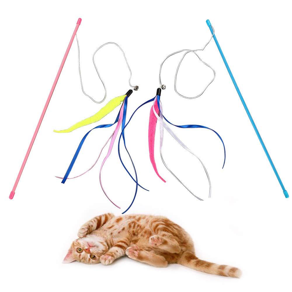Glumes Ribbon Teaser Cat Toy, Pet Tassels Wand + Plush ball + Bell, Guaranteed to Drive Your Cat Wild, Interactive Catcher Teaser for Kitten Or Cat Having Fun Exerciser Playing (blue)