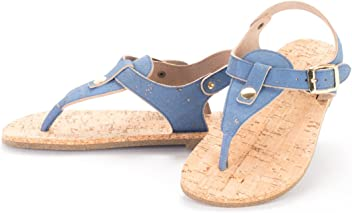 Artelusa Vegan Natural Cork Sandals Made in Portugal Blue