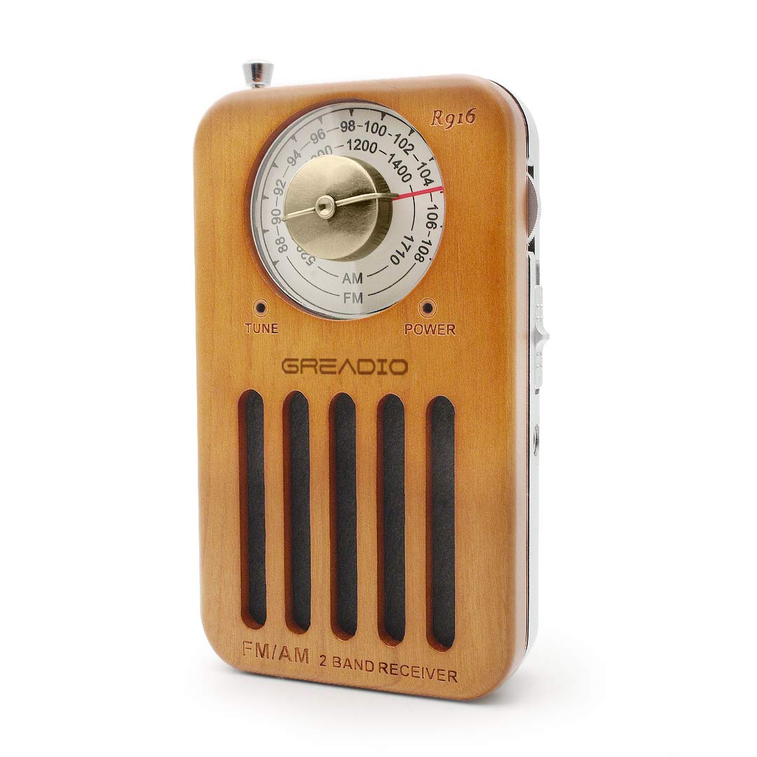 AM/FM Portable Radio, Pocket Retro Cherry Wood Radio with Headphone Jack, Best Reception, Battery Operated Personal Transistor by 2 AA Battery for Travelling, Jogging and Walking
