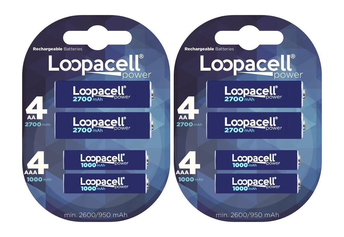 Loopacell AAA Ni-MH 1000mAh Rechargeable Battery Pack of 4