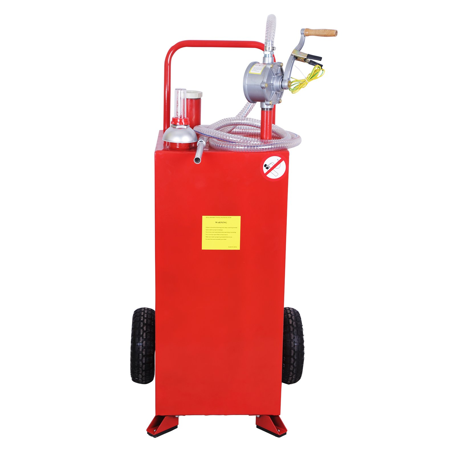 Topvendor 30 Gallon Portable Gas Caddy Tank with Wheels, Pump and Hard Tube for Fuel Storage Gasoline Fluid Diesel,Red