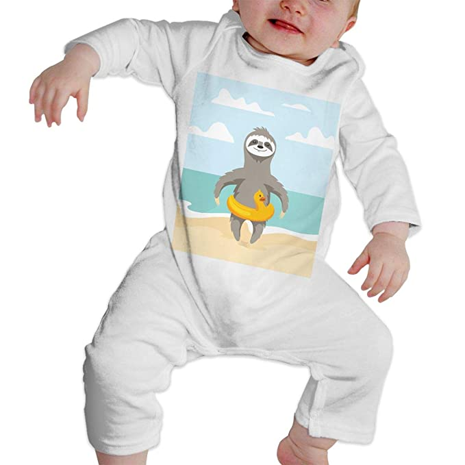 52119f825bc Image Unavailable. Image not available for. Color  UINight Happy Cute Sloth  Beach Summer Vacation Infant Toddler Baby Boy ...