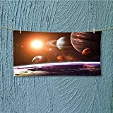 alsoeasy Swim Towel Solar System with Planets Objects Sun Dark Super Soft L39.4 x W9.8 inch