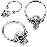 Pierced Owl Pair of Skull Nipple Rings 14g Captive Bead Rings 316L Surgical Steel - Sold as Pair