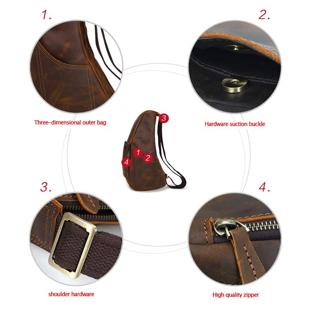 @Y.T axelväska messengerväska läder herrväska stor kapacitet axelväska mode retro mäns bröstväska SVART